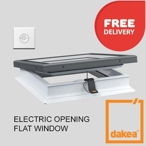 1200mm x 1200mm Flat Glass Opening Rooflight incl base