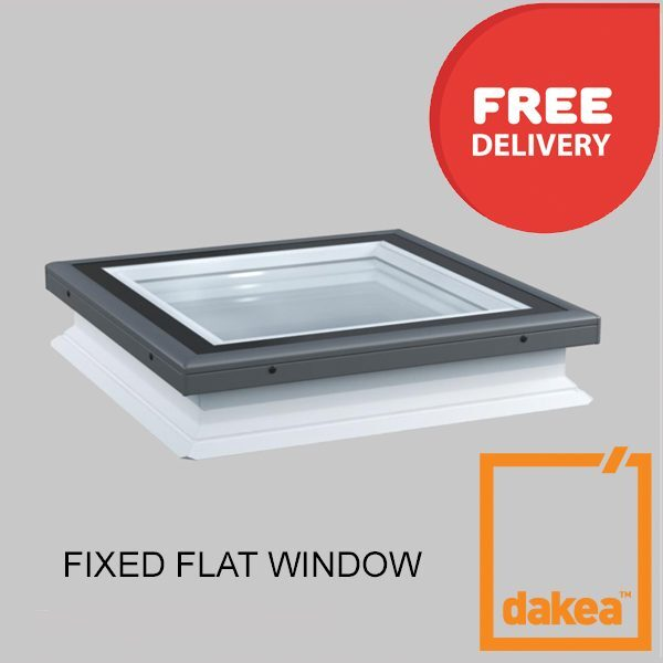 1000mm x 1000mm Flat Glass Fixed Rooflight incl base