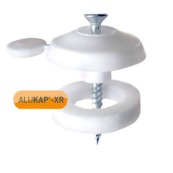 White fixing button for 10mm to 35mm polycarbonate roofing sheet.