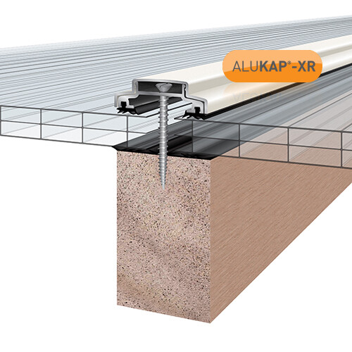 45mm Wide 6.0m Alukap XR Aluminium Rafter Supported Glazing Bar incl end caps (available in any colour)