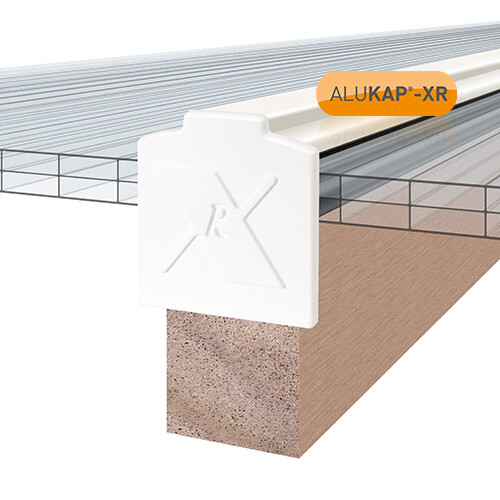 45mm Wide 3.0m Alukap XR Aluminium Rafter Supported Glazing Bar incl end caps (available in any colour)