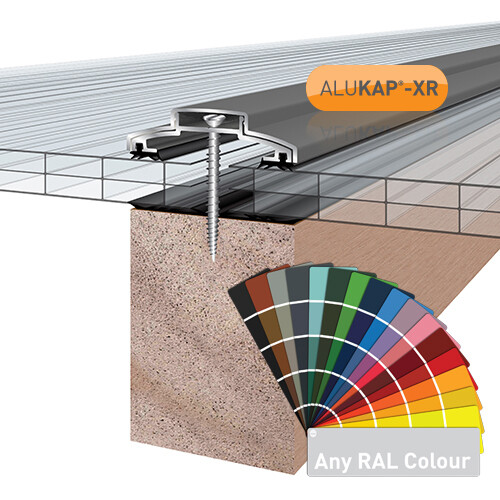 60mm Wide 3.0m Alukap XR Aluminium Rafter Supported Glazing Bar incl end caps (available in any colour)