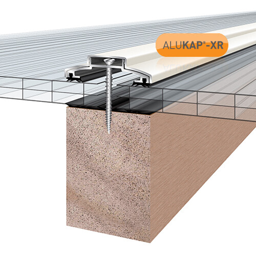 60mm Wide 4.8m Alukap XR Aluminium Rafter Supported Glazing Bar incl end caps (available in any colour)