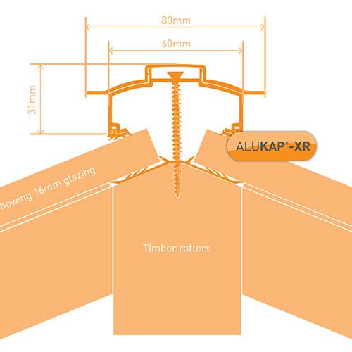45mm Wide 3.0m Alukap XR Aluminium Rafter Supported Hip Bar