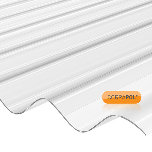 Corrugated Polycarbonate Sheet 840 x 2440 Clear LOW PROFILE
