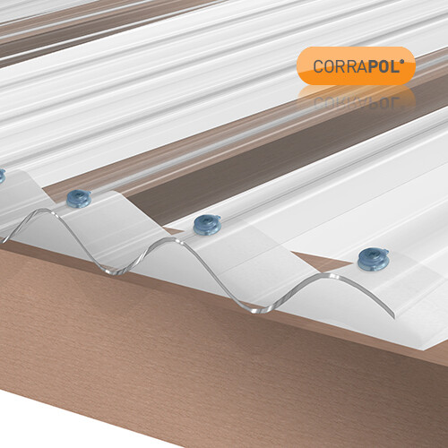 Corrugated Polycarbonate Sheet 950 x 2000 Clear HIGH PROFILE Stormproof