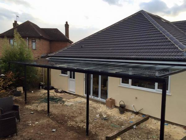 Up to 3.5m Wide 6mm Glass Patio Cover & Veranda. (Select Projection)